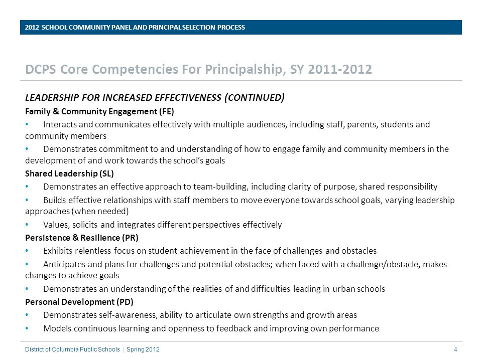 DCPS Core Competencies For Principalship, SY