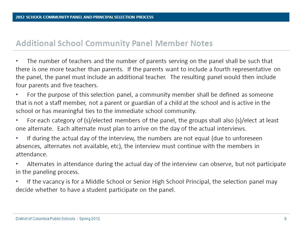 Additional School Community Panel Member Notes