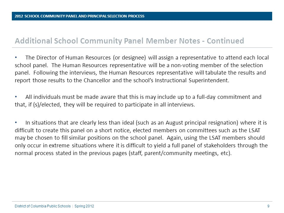 2012 SCHOOL COMMUNITY PANEL AND PRINCIPAL SELECTION PROCESS ppt – Human Resources Representative