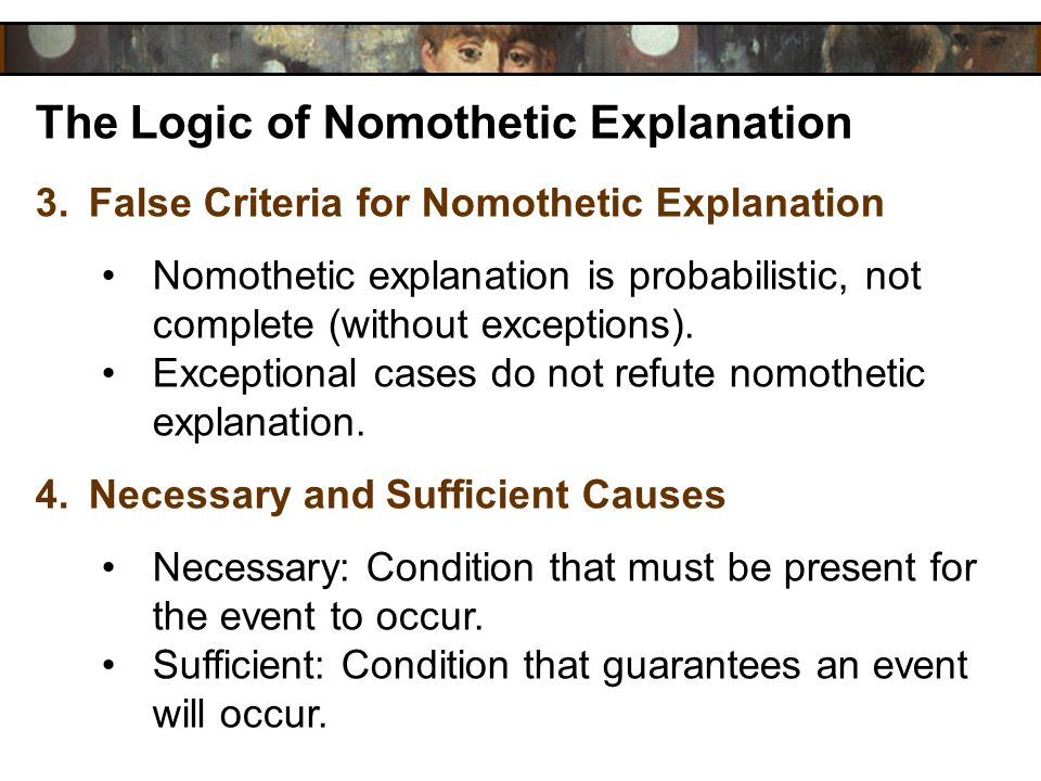 The Logic of Nomothetic Explanation