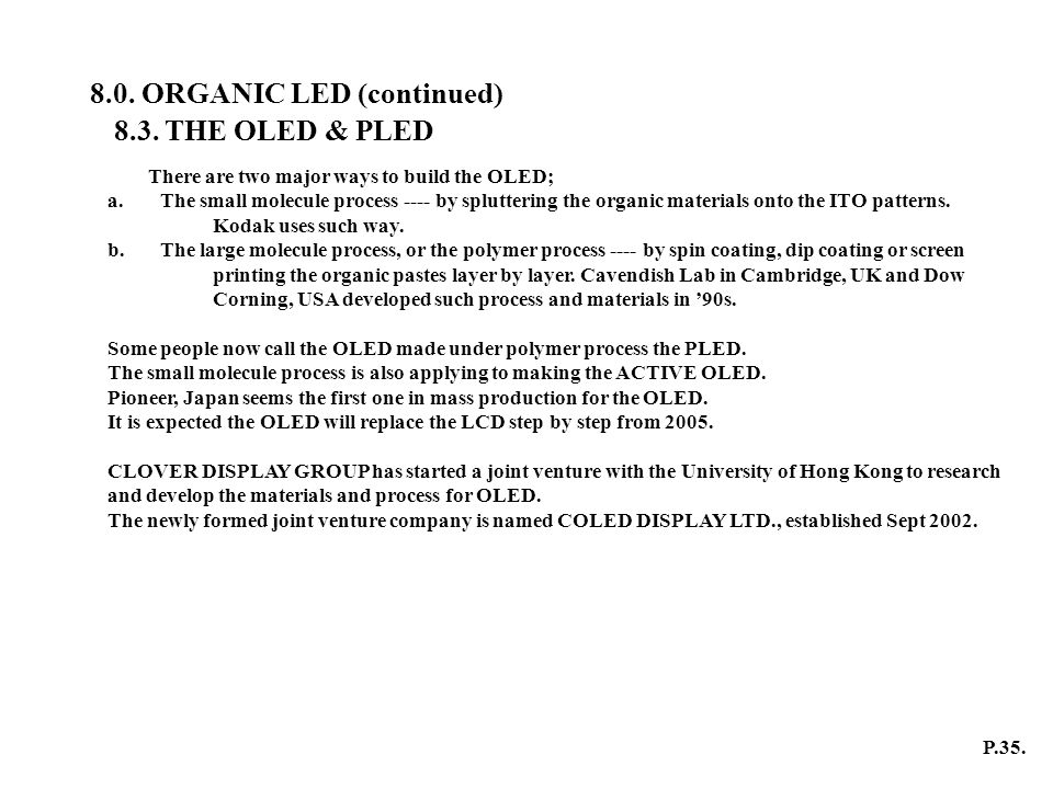 8.0. ORGANIC LED (continued)
