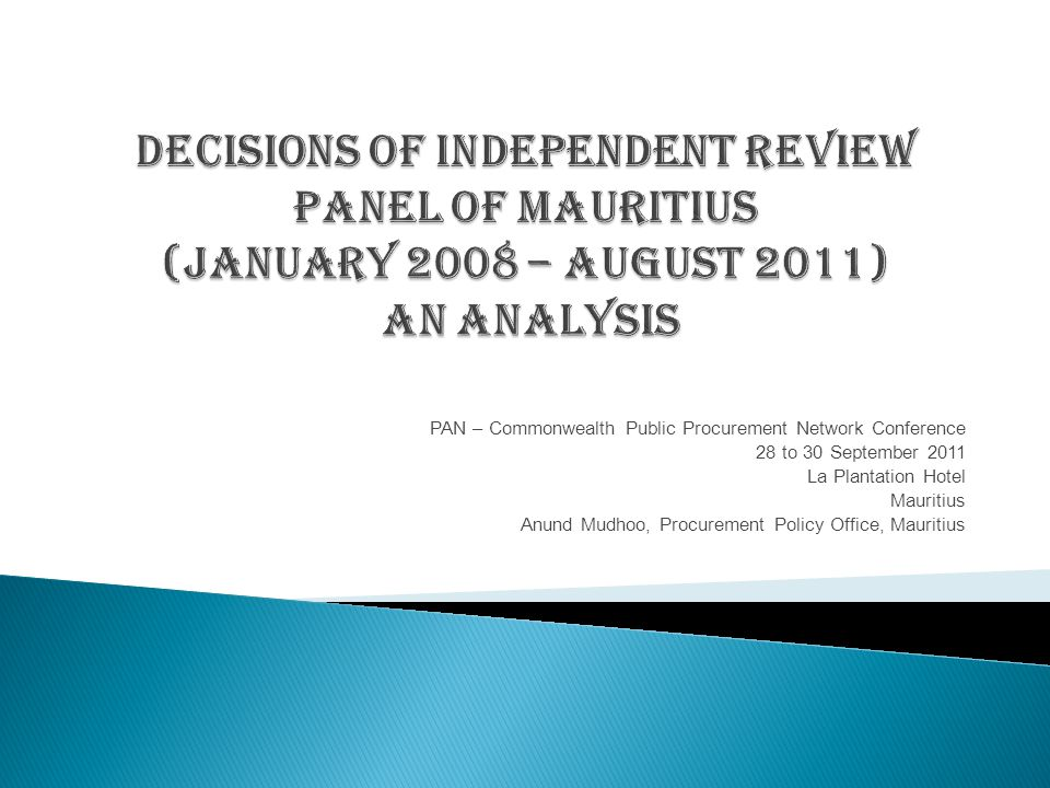 Mauritius : Analysis of Decisions of the Independent Review Panel