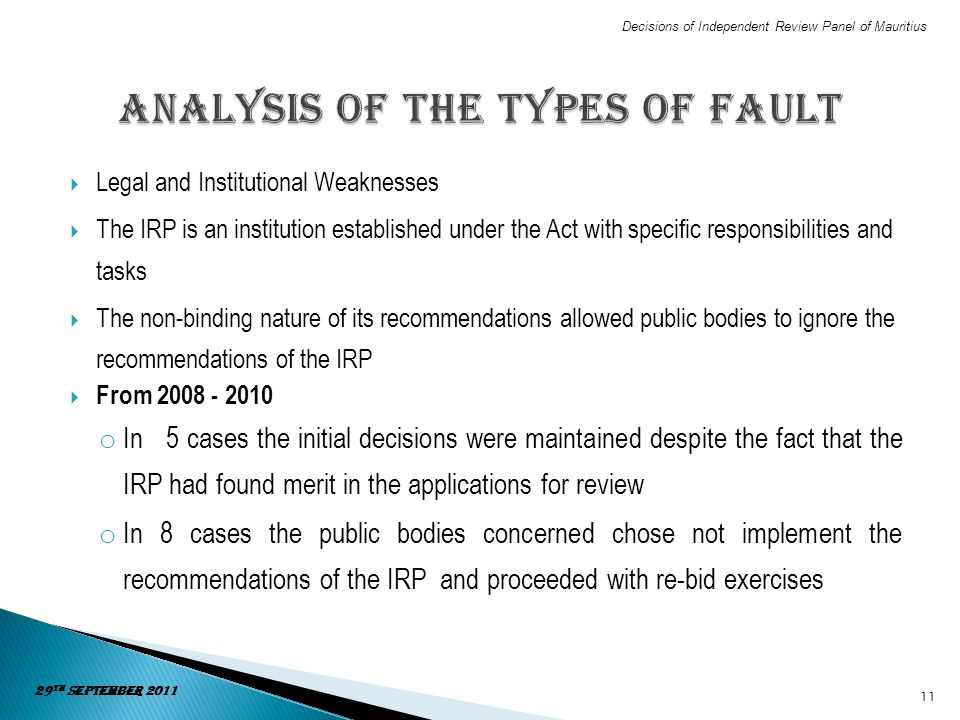 Analysis of the types of fault