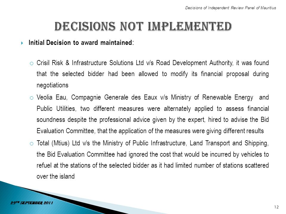 Decisions not implemented