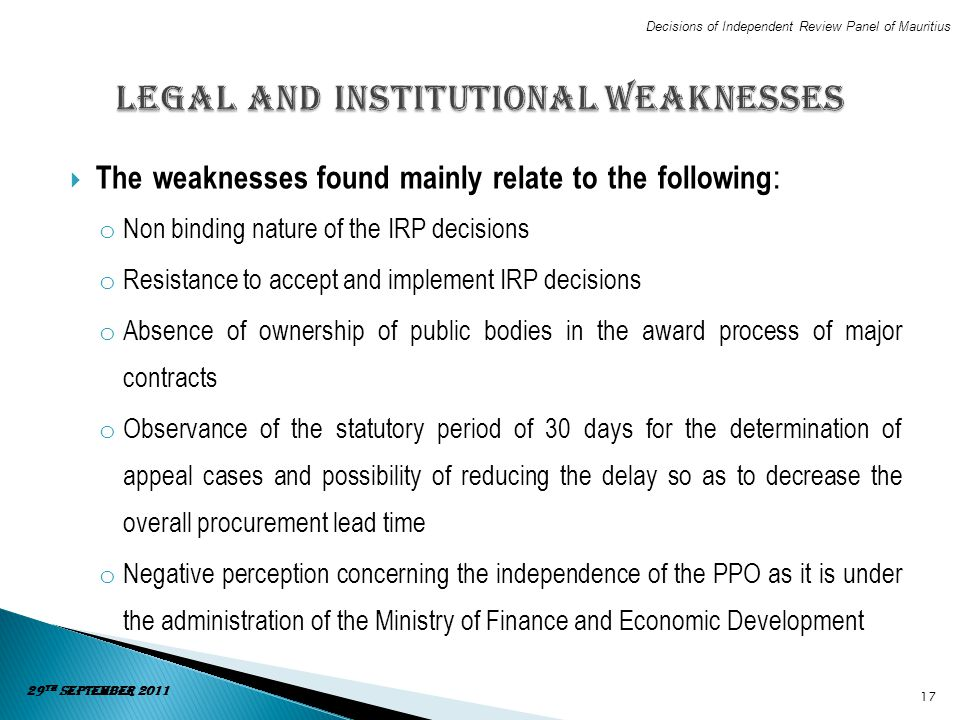 Legal and Institutional Weaknesses