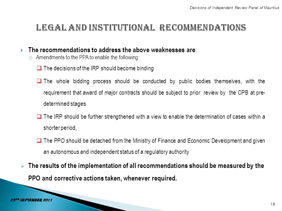 Legal and Institutional Recommendations