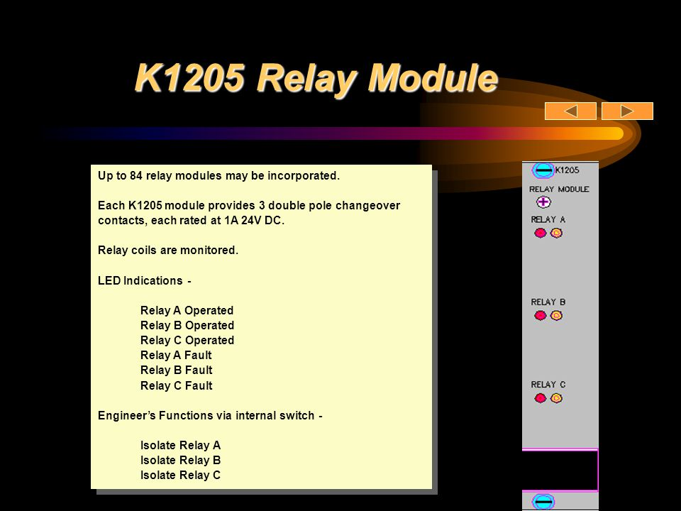 K1205 Relay Module Up to 84 relay modules may be incorporated.