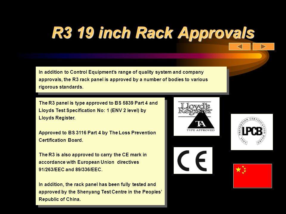 R3 19 inch Rack Approvals