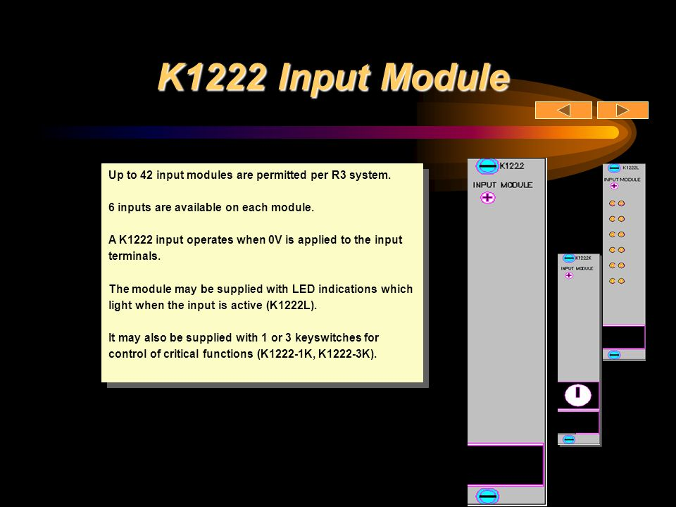 K1222 Input Module Up to 42 input modules are permitted per R3 system.