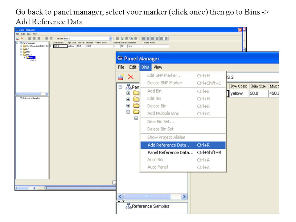 Go back to panel manager, select your marker (click once) then go to Bins -> Add Reference Data