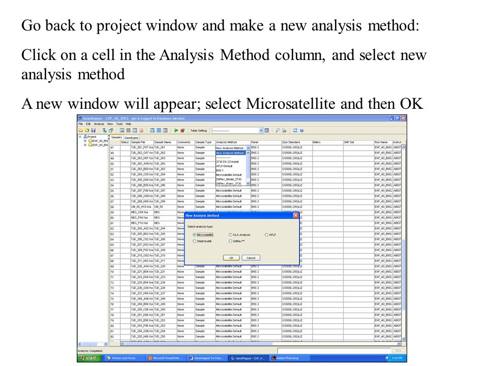 Go back to project window and make a new analysis method: