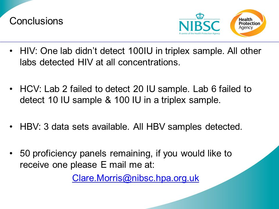 Conclusions HIV: One lab didn't detect 100IU in triplex sample. All other labs detected HIV at all concentrations.