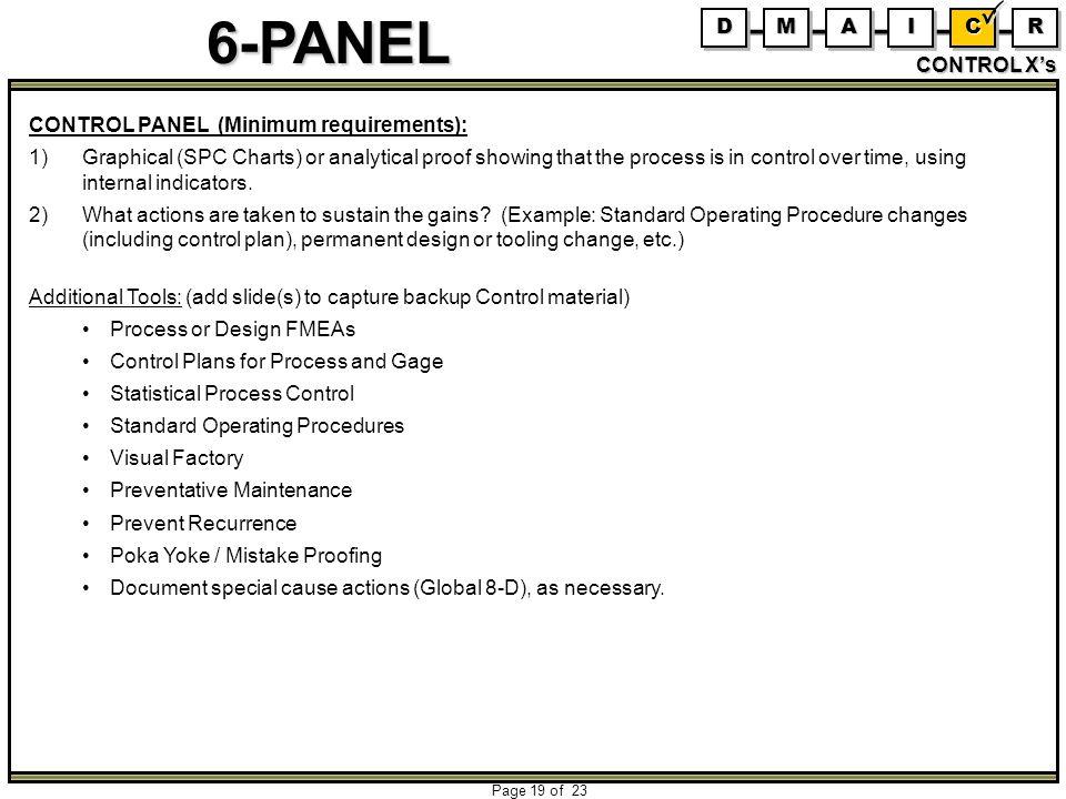 D M. A. I. C. R. CONTROL X's. CONTROL PANEL (Minimum requirements):