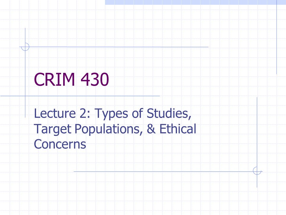 Lecture 2: Types of Studies, Target Populations, & Ethical Concerns