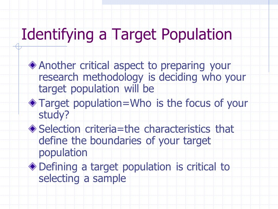 Identifying a Target Population