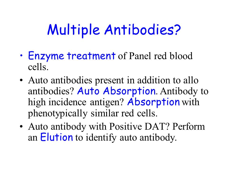 Multiple Antibodies Enzyme treatment of Panel red blood cells.