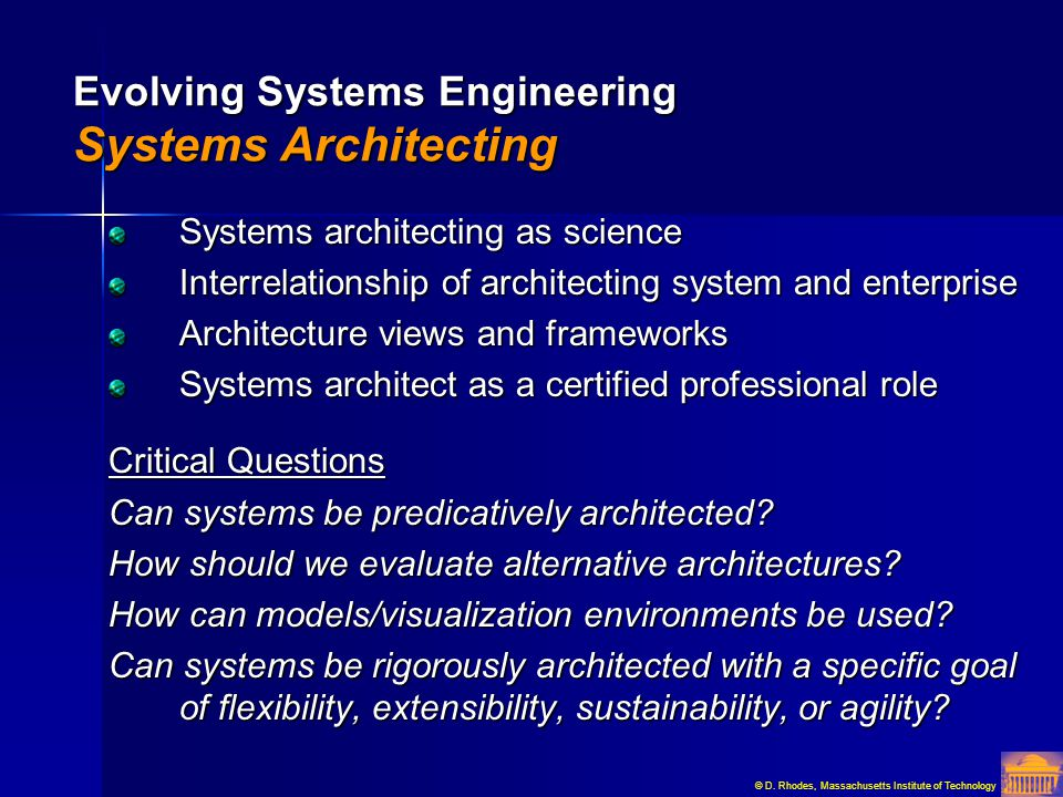 Evolving Systems Engineering Systems Architecting