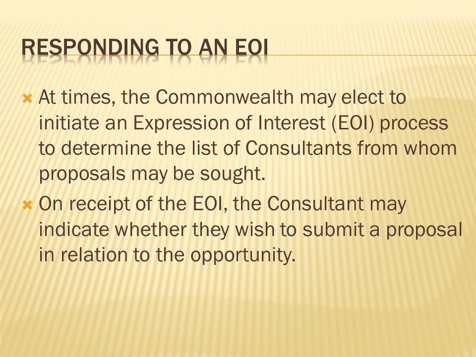 Responding to an EOI