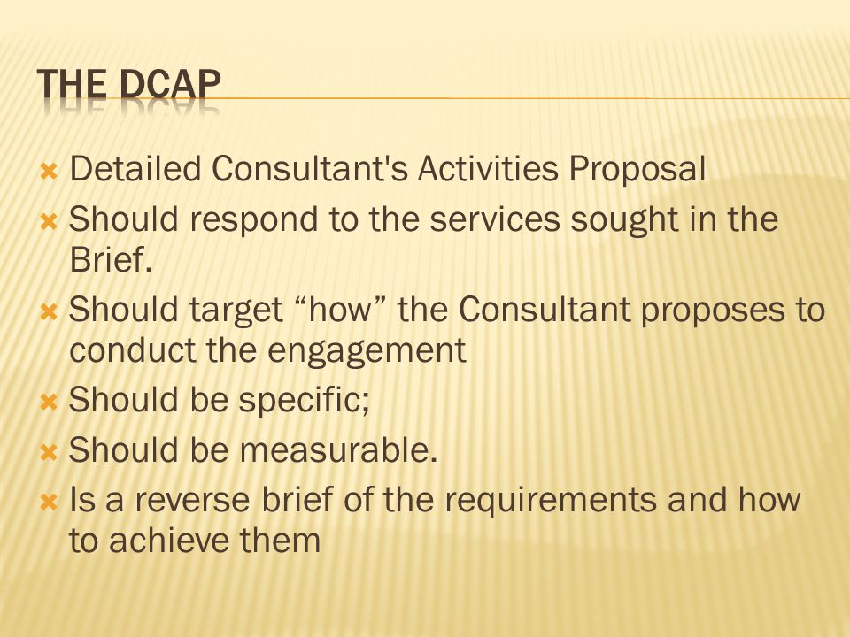 The dcap Detailed Consultant s Activities Proposal