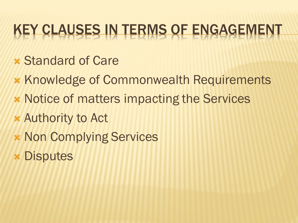 Key clauses in terms of engagement