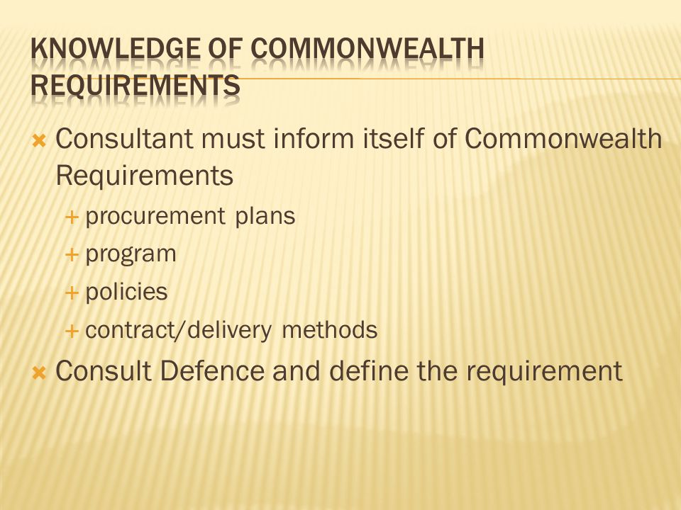 Knowledge of commonwealth requirements