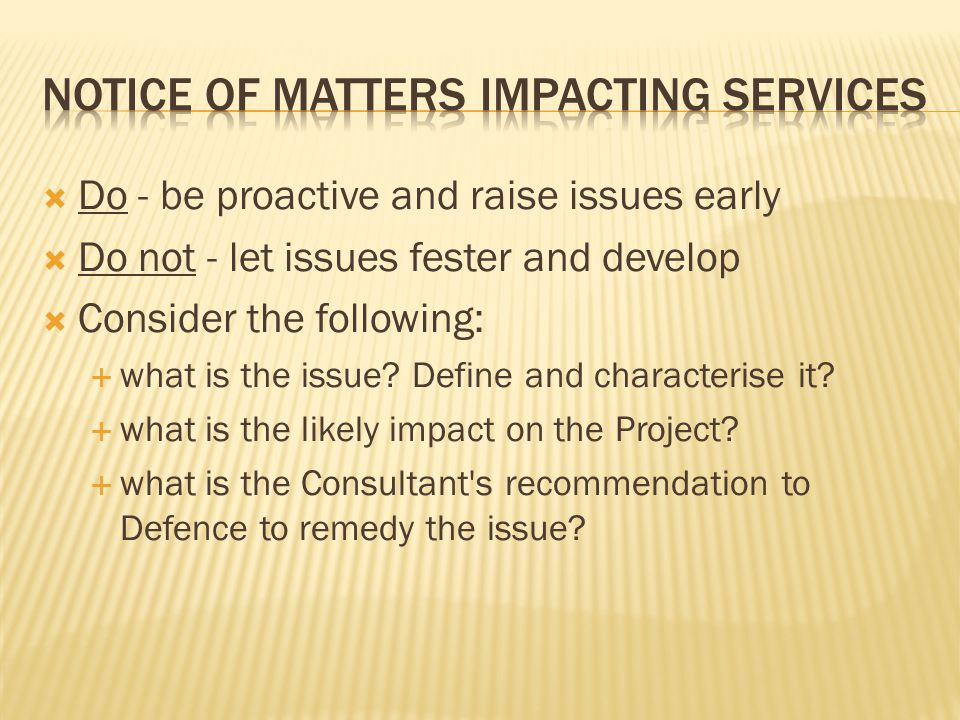 Notice of matters impacting services