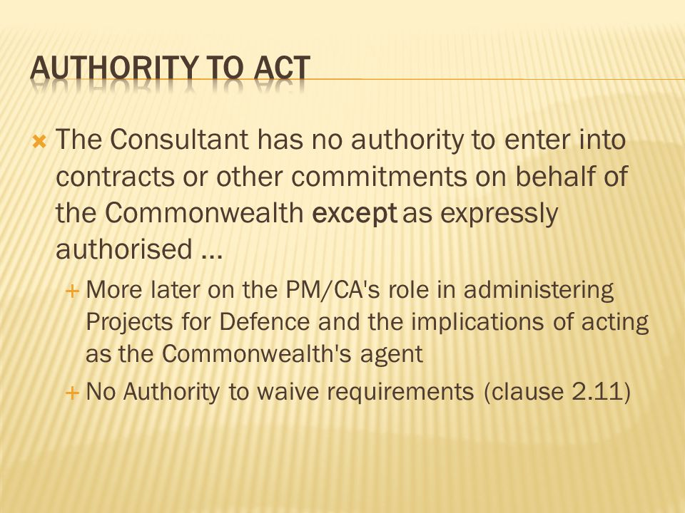 Authority to act