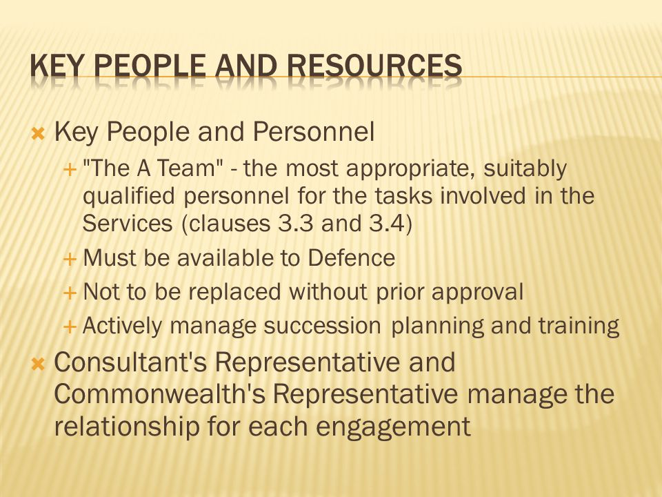 Key people and resources