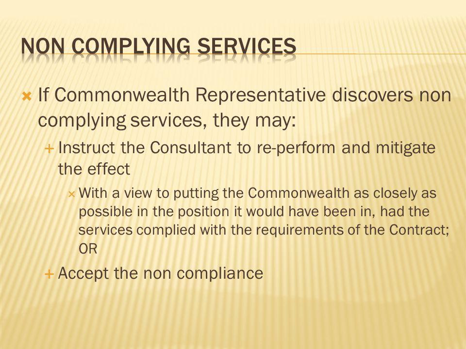 Non complying services