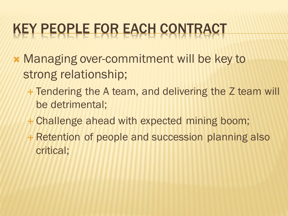 Key people for each contract