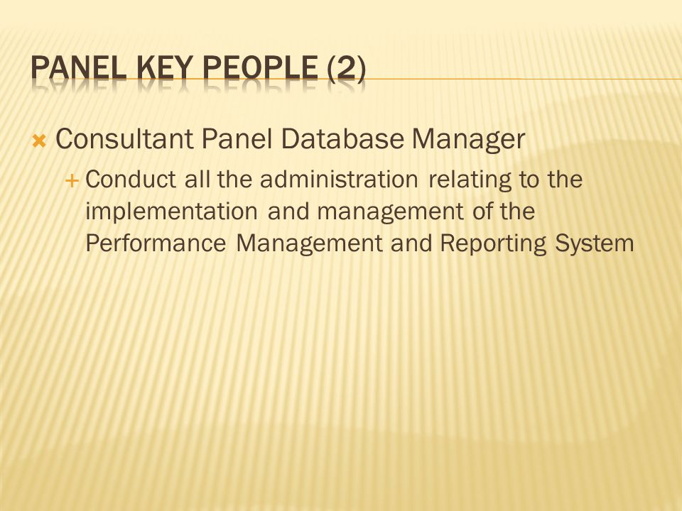 Panel key people (2) Consultant Panel Database Manager