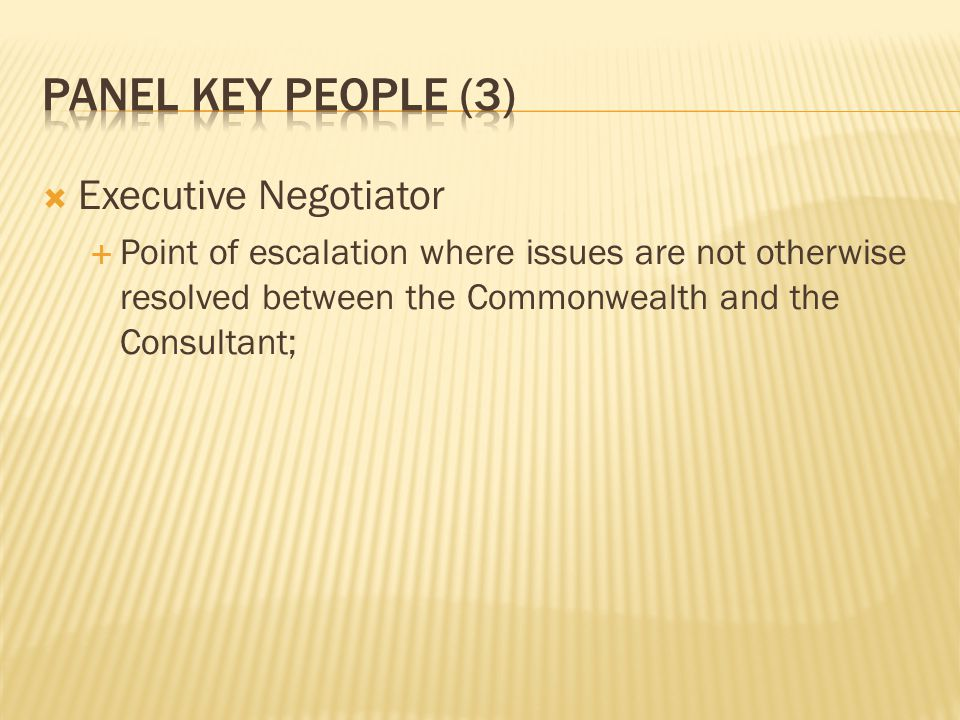 Panel key people (3) Executive Negotiator