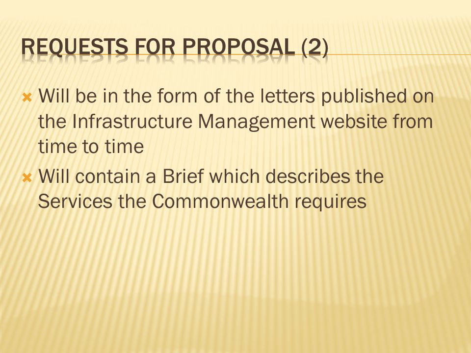 Requests for proposal (2)