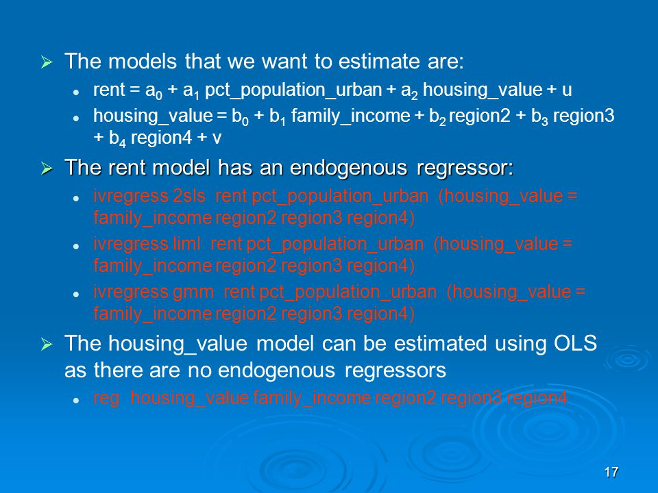 The models that we want to estimate are: