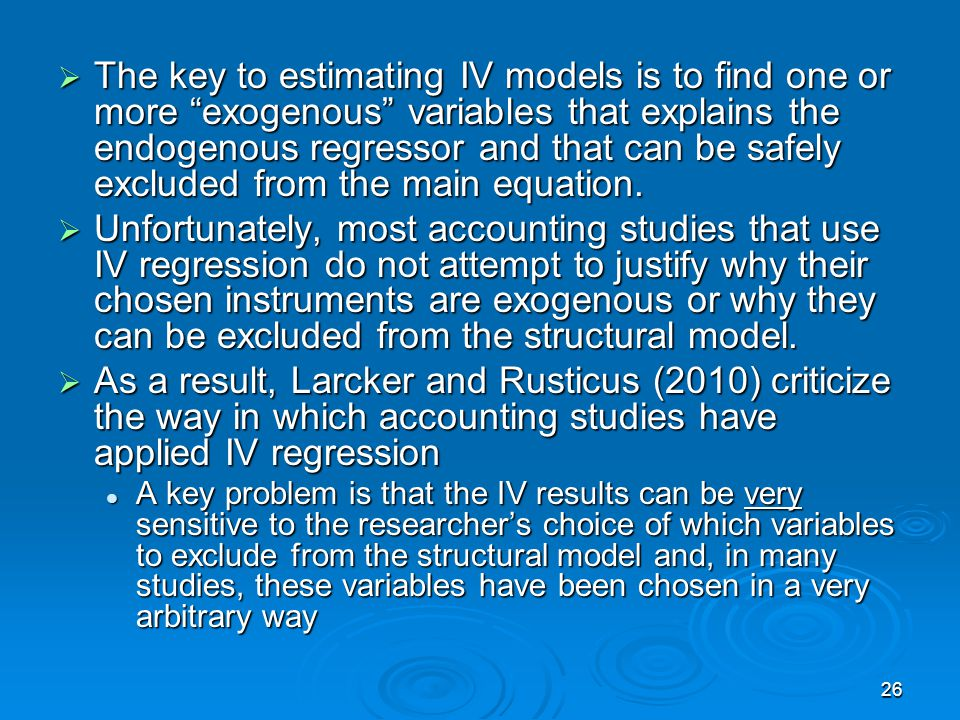 The key to estimating IV models is to find one or more exogenous variables that explains the endogenous regressor and that can be safely excluded from the main equation.