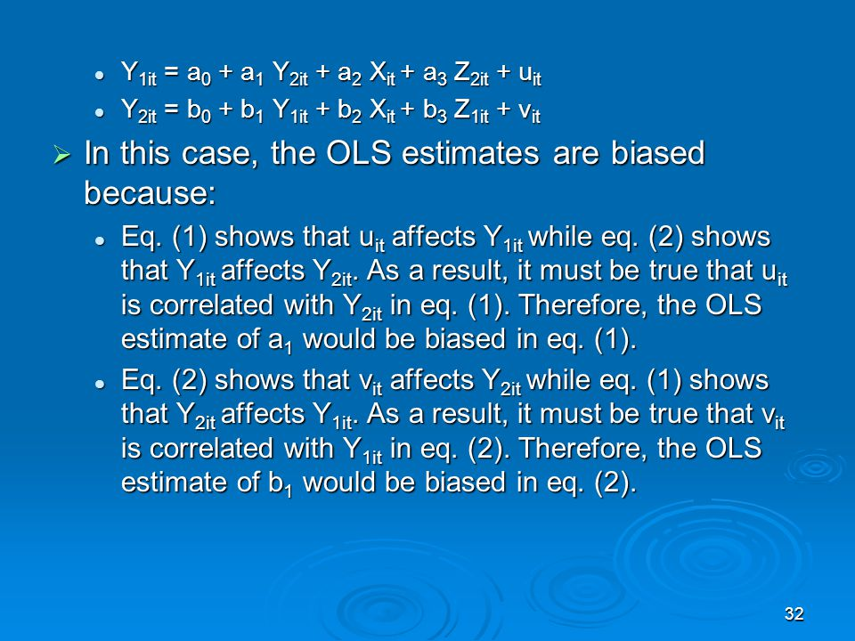 In this case, the OLS estimates are biased because: