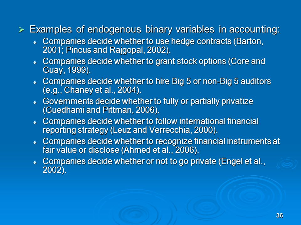 Examples of endogenous binary variables in accounting: