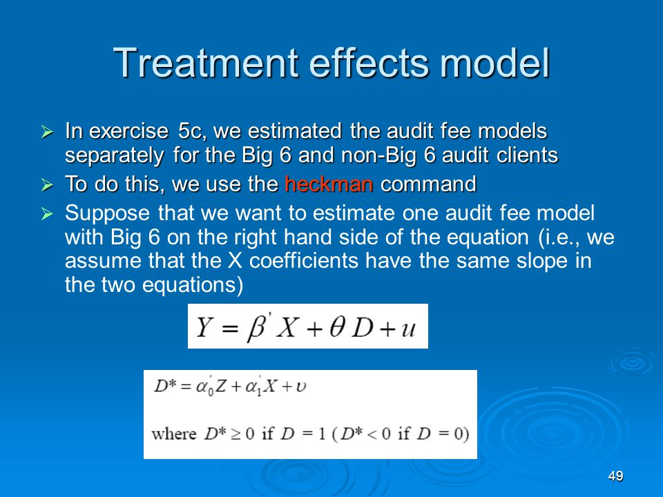 Treatment effects model