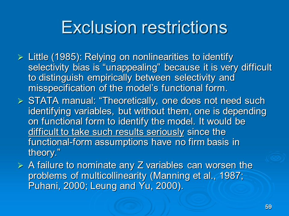 Exclusion restrictions