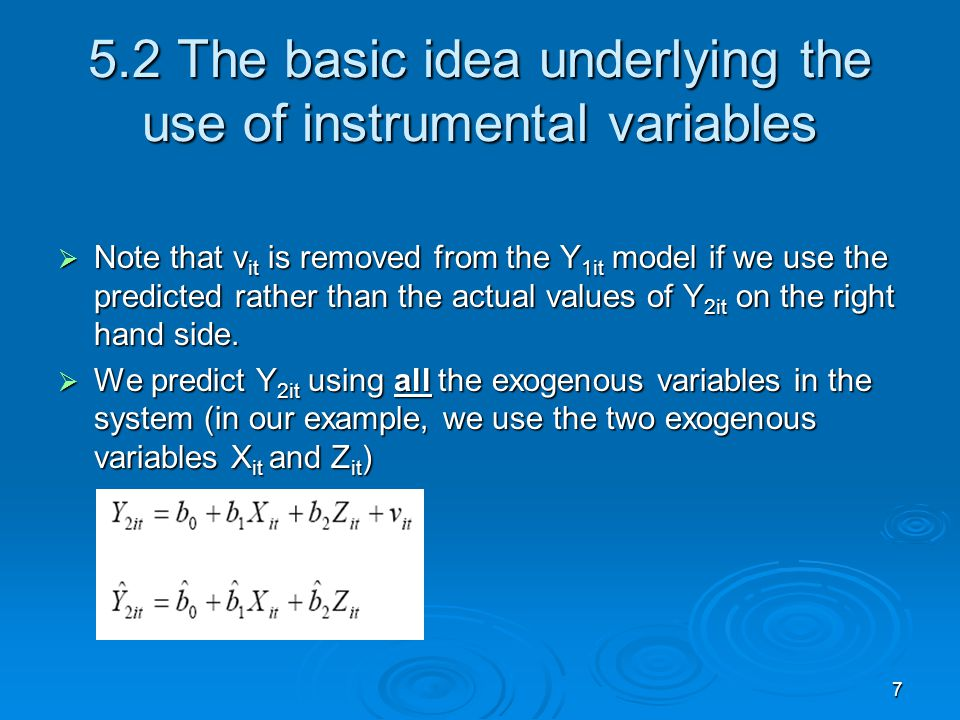 5.2 The basic idea underlying the use of instrumental variables