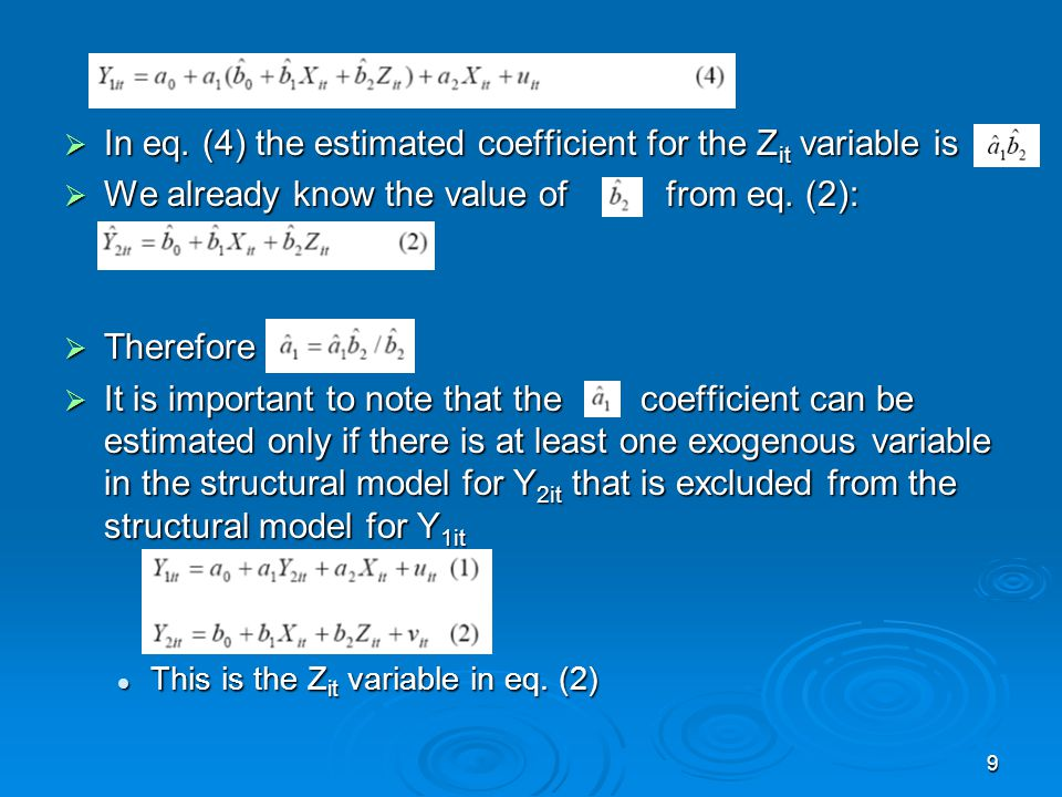 In eq. (4) the estimated coefficient for the Zit variable is