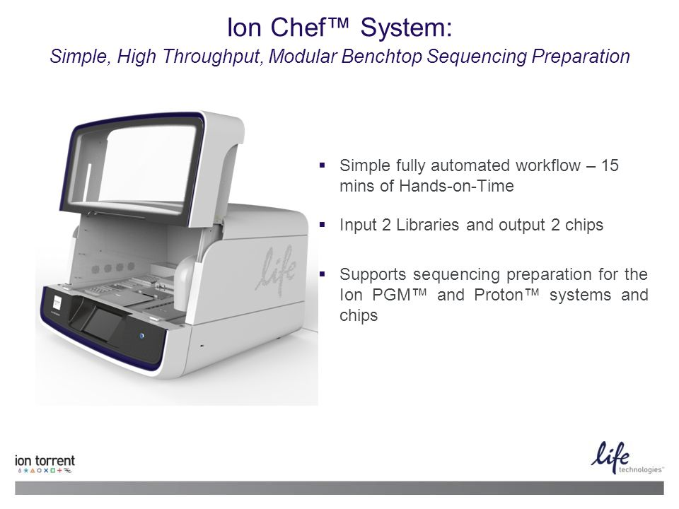 Ion Chef™ System: Simple, High Throughput, Modular Benchtop Sequencing Preparation