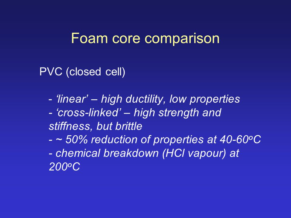Foam core comparison
