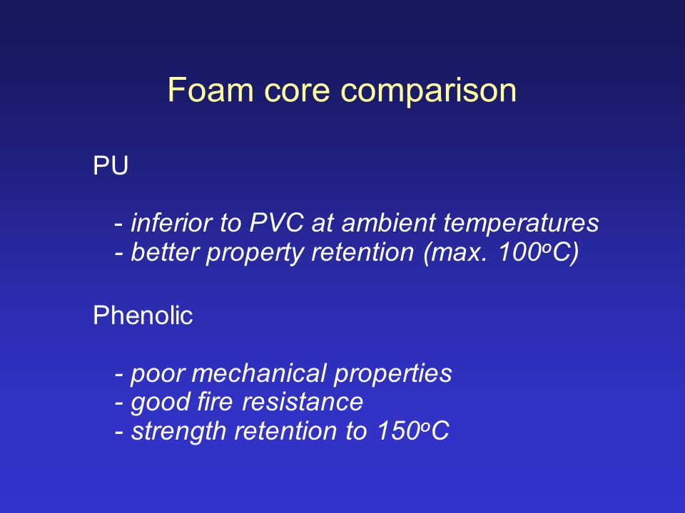 Foam core comparison PU - inferior to PVC at ambient temperatures - better property retention (max. 100oC)