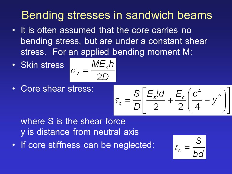 Bending stresses in sandwich beams