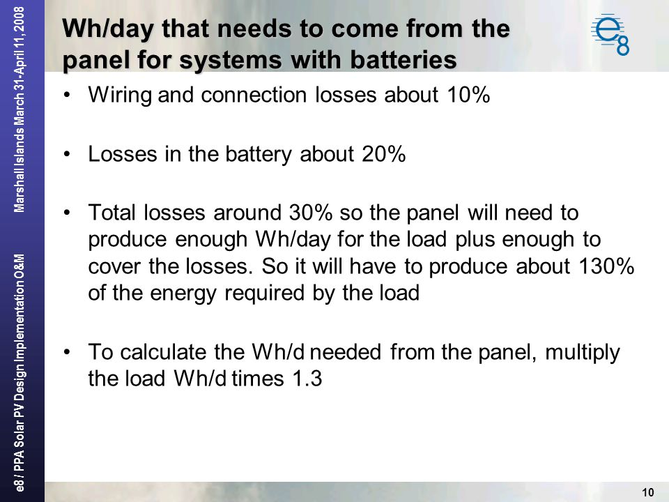 Wh/day that needs to come from the panel for systems with batteries
