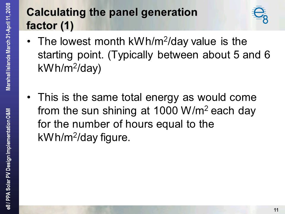 Calculating the panel generation factor (1)