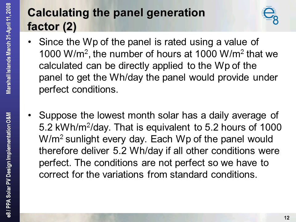 Calculating the panel generation factor (2)