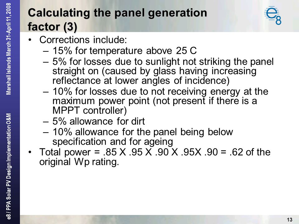 Calculating the panel generation factor (3)