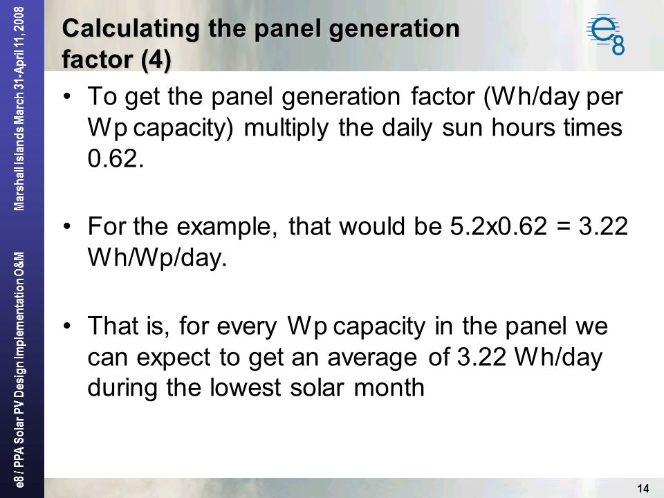 Calculating the panel generation factor (4)